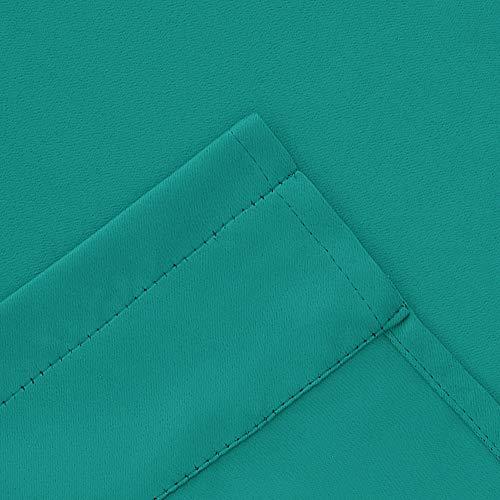 Deconovo 2 Pezzi Tendine Oscuranti Camera da Letto Tende Piccole con Passanti per Finestre Soggiorno 100 Poliestere 107x46 CM Turchese