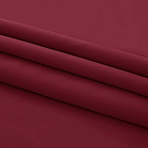 Deconovo Mantovane Termiche Isolanti Decorative per Cucina Tende Camera da Letto Classiche Corte Moderne con Anelli 2 Pezzi 140x61 CM Rosso Scuro