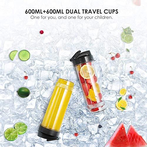 DEIK Frullatore Blender 6 In 1 con 3 Bottiglie Portatili Frullatore Tritatutto Multifunzione con 4 Lame in Acciaio Inox per Frapp Ghiaccio Frutta Verdura e Pappe Bimbi 500W 32000RMP