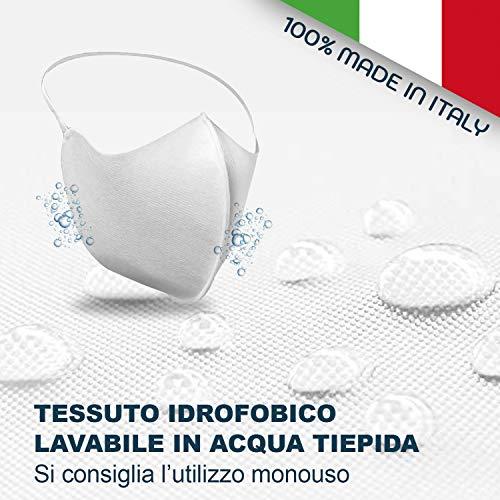 DERMAMASK  Mascherina Protettiva Antipolvere Traspirante in Tessuto Filtrante Antibatterico Idrofobico TNT 3 strati protettivi  100 Made in Italy 5 Bianco