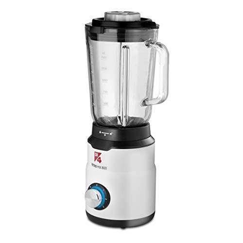 Di4 VetroMix 800  Frullatore a bicchiere 800 W caraffa in vetro 15 L 3 velocit corpo in plastica 6 lame adatte anche per tritare ghiaccio piedini antiscivolo illuminazione LED BPA Free