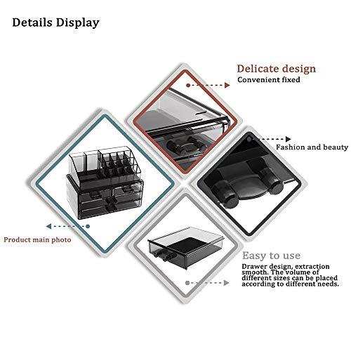Display4top cosmetico dell organizzatore di immagazzinaggio 4 cassetti in impermeabile Crystal Make Up dell organizzatore di immagazzinaggio cosmetici per bagno Desktop Student Heim Grigio fumoso