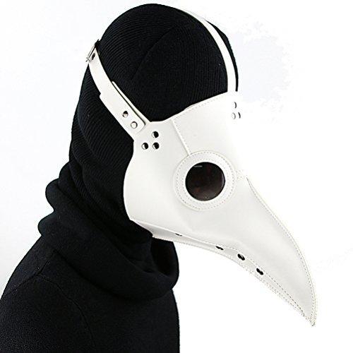DM201605  Maschera da medico della peste con becco lungo da uccello stile steampunk in ecopelle per Halloween colore nero PU Bianco Stile 1 Standard