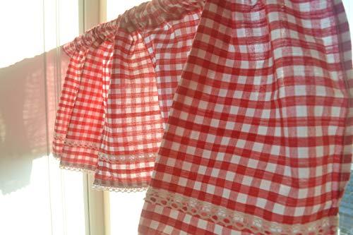DOKOT Mantovane per Tende Tende Cucina Country Tendine a Quadretti Buffalo Check Tenda a Rete per Cucina Sala da Pranzo Bar Cotone Lino Rosso 45x150cm