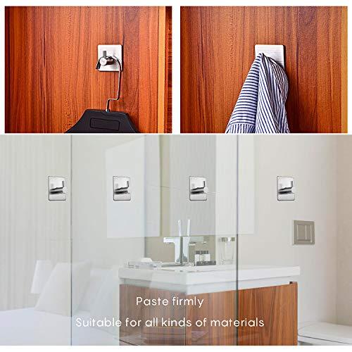 EKKONG Gancio Muro Adesivo autoadesivi in acciaio inossidabile porta asciugamani porta asciugamano Acciaio Inox Cappotto Gancio per Cucina e Bagno 6 Pezzi