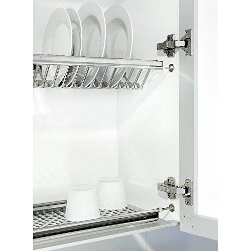 Emuca  Scolapiatti pensile per piatti e bicchieri in acciaio inox per mobile di lunghezza 90cm 835mm e 870mm