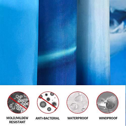 ENCOFT Tenda Doccia con 12 Ganci Antimuffa Impermeabile Tessuto in Poliestere Stampa di Squalo Tende per Vasca da Bagno Blu 180x180cm