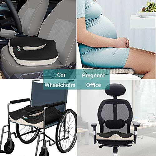 Feagar Cuscino per Sedile Memory Foam  Cuscino Emorroidi per Sedia a rotelle Ufficio Poltrona Auto  Ergonomico Cuscini Seduta per Postura Coccige Sciatica Sollievo Dolore alla Schiena