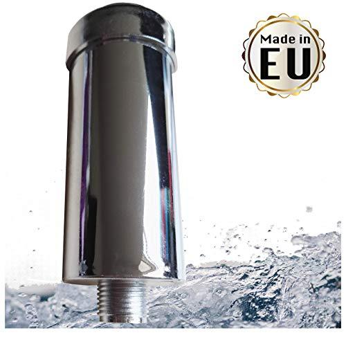 Filtro anticalcare anticloro per doccia e vasca da bagno  riduce le irritazioni cutanee e capelli danneggiati realizzato in UE con filettatura da 12 per tubo doccia normale Argento