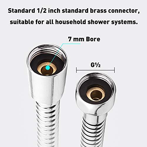 Flessibile Doccia 2 Metri Tubo Flessibile in Acciaio Inox Anti Torsione Tubo Doccia con 2 Rondelle Adatto per Tutti i Soffione Doccia 12  Cromato