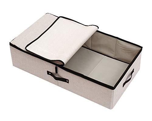 Goklmn Contenitori sotto il letto Scarpiera portaoggetti con coperchi coperte e cestini in stoffa Lino Grigio chiaro 70x40x18cm