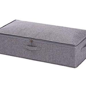 Goklmn Contenitori sotto il letto Scarpiera portaoggetti con coperchi coperte e cestini in stoffa Poliestere Grigio confezione da 1 76x38x17cm
