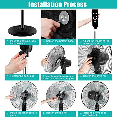 Gotoll Ventilatore a Piantana Silenzioso 42dB 3 Velocit Oscillante 90 60W Altezza 1165132cm Display LCD con Telecomando