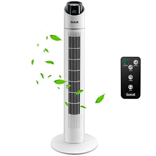 Gotoll Ventilatore a Torre Bianco 96CM con TelecomandoVentilatori a Piantana 50WOscillazione 703 Velocit3 Modalit Operative15 H TimerDisplay LED BIANCO85CM