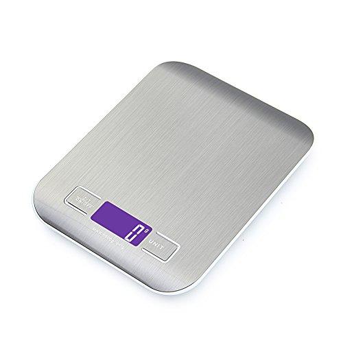 GPISEN Bilancia da Cucina Smart Digitale con Funzione Tare5kg11 lbs Professionale Acciaio Inox Alta Precision Bilancia Elettronica per la Casa e la CucinaArgento2 Batteries Incluse
