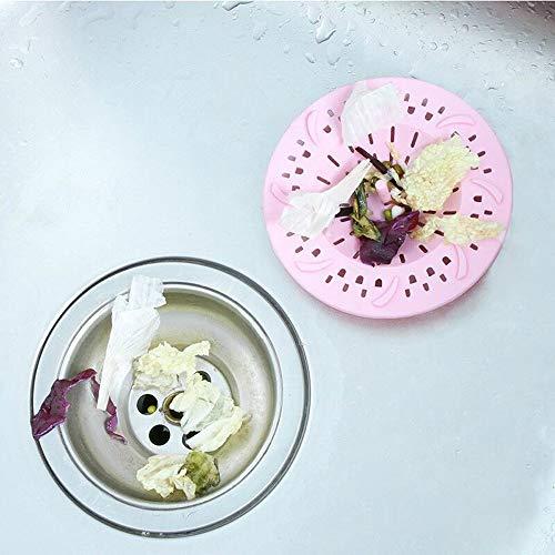 Gresunny 4 Pezzi Filtro per lavello in Silicone Filtro di Scarico in Gomma Tappo Lavandino Silicone Tappo per Vasca da Bagno Copertura per Scarico coperchi di Scarico per Doccia Vasca Cucina