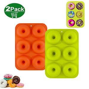 HENJI Silicone Ciambelle Stampo 2 Pezzi Silicone Donut Teglia Antiaderente Senza BPA Adatto per Lavastoviglie Forno Microonde Freezer