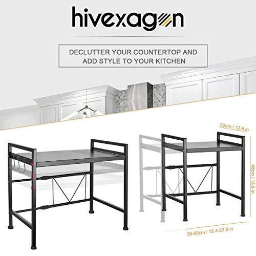 Hivexagon allungabile Forno a microonde Rack Stare mensola con 2 Livelli di Storage scaffale  espandibile Lunghezza e Altezza  con 3 Ganci Perfetto per pianale da Cucina Organizer hg526
