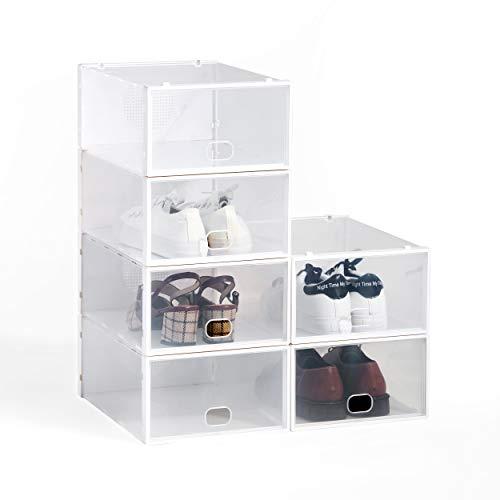 Hodou  Scarpiera impilabile versione aggiornata confezione da 6 pezzi trasparente per scarpe da uomo e donna in plastica 34 x 23 x 13 cm bianco