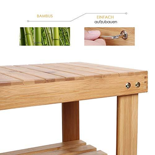 Homfa Scarpiera Scaffale 3 Ripiani Portascarpe in bamb Sgabello Panca in Legno 70 x 285 x 45 cm Naturale
