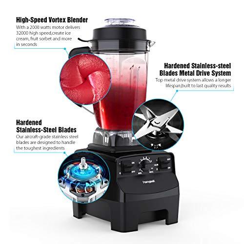 homgeek Frullatore Professionale 2000W Frullatore Smoothie con 10 Velocit Regolabili e 30000 girimin Frullatore da Tavolo Multifunzione per Frullati Boccale in Tritan da 2L BPAFree