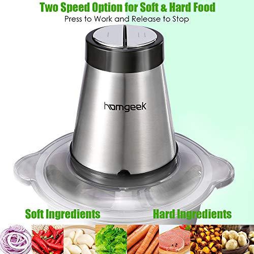 homgeek Tritatutto da Cucina Elettrico Frullatore Tritatutto Multifunzione da 300 W con 4 Lame in Acciaio Inox Funzionamento a Pressione Mixer Cucina da Ciotola in Acciaio Inox 18L