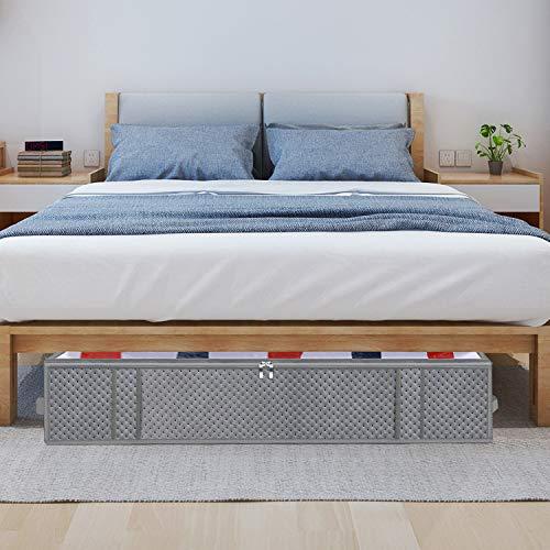 homyfort 2 pezzi Borsa di Immagazzinaggio per Organizer per Guardaroba Sacchetto di stoccaggio sotto il letto per piumonicopertatrapunteindumenti pieghevole 100x50x18cm Grigio chiaro 7X3QR100L