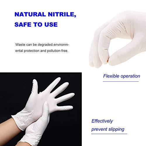 Hseamall guanti usa e getta in nitrile senza polvere guanti protettivi per le mani senza lattice anallergici resistenti allusura colore bianco L bianco 100