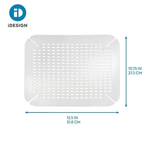 iDesign Tappetino lavandino Tappetino lavello cucina grande in plastica PVC Accessori lavello e lavandino con fori di scolo trasparente