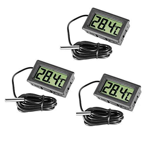 Inrigorous 3 termometri digitali neri in acciaio per frigorifero e congelatore con monitor per la visualizzazione della temperatura