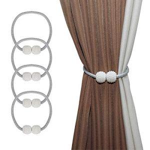 ISIYINER Fermacravatte per Tende Magnetiche Finte Sfere di Perle Fermacravatte Magnetici per Tenda Classico Europeo Tieback Eleganti Decorazioni per Tende da Ufficio e Casa 4 Pezzi Grigio