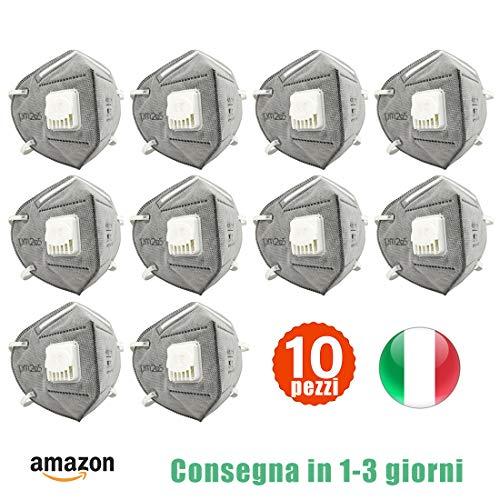 Katomi 10 pezzi di Facciale protettiva personale a 6 strati con valvola nasello regolabile Magazzino italiano Consegna in 13 giorni