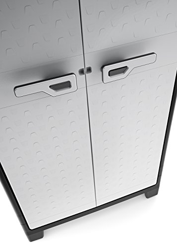 Keter 9760000 Titan Alto XL Impermeabile Cert Ipx3 80 X 44 X 182 H Grigio 80x44x182 cm Portata per ripiano 30 kg