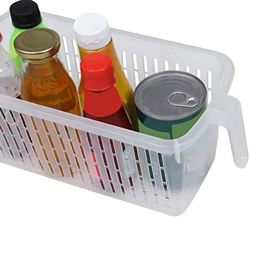 Kurtzy Frigorifero Conservazione Cestini Confezione da 4  32x15x135 cm Frigo Plastica Conservazione Cestini con Manico per Organizzazione Scaffali Frigorifero Credenza Bagno Cucina