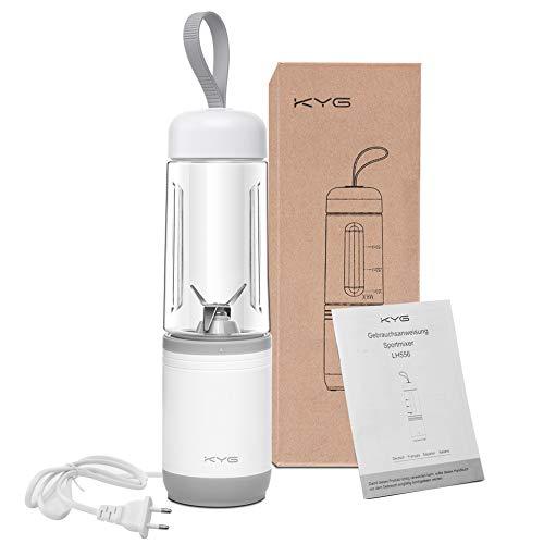 KYG Mini Frullatore Elettrico Portatile 2 in 1 Senza BPA con Tazza da 350 ml Dotato di 4 Lame Bianco