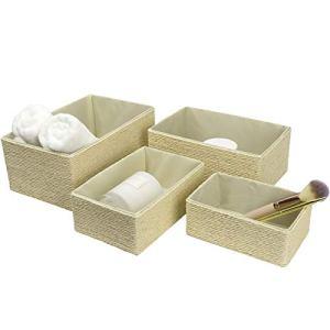 La Jole Muse  Set di 4 cestini impilabili in corda di carta intrecciata contenitori per trucchi armadio bagno camera da letto beige