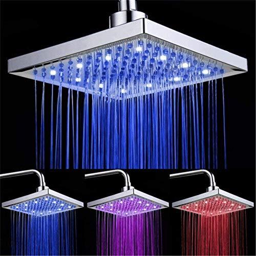 LED Soffione doccia 8 pollici controllo della temperatura 3 colore cambiando flusso dacqua alimentato soffione per doccia quadrato ABS cromato finito con 12pcs LED