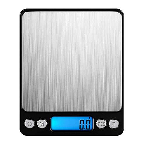 LEMCASE Bilancia Cucina Digitale  Bilancia Elettronica Professionale pesa Alimenti con Display LCD Illuminato Capacit 3kg01g  Nero