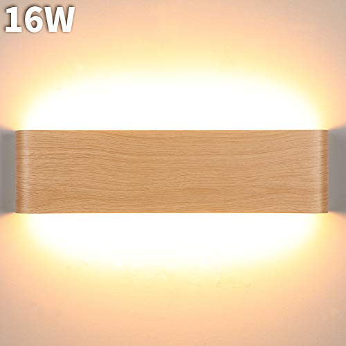 Lightess 16W Applique da Parete Interno Moderno LED Lampade da Parete Luce in alluminio per Corridoio bagno Scala Camera da Letto Soggiorno Colore del Legno Bianco Caldo