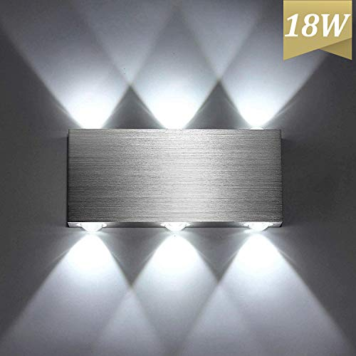 Lightess 18W Applique da Parete Interni Lampada a Muro Applique Moderna LED in Metallo per Decorazione Soggiorno Camera da Letto Bagno Colore Bianco Freddo