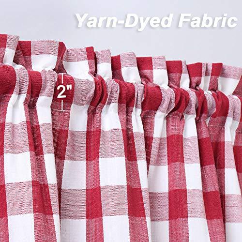 Lintimes Buffalo Check Gingham borsa in tessuto con mantovana regolabile tenda plaid con animali pronta per la cucina e il bagno Colore rosso TIER 71x76cm