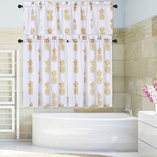 LinTimes mantovana piccola per finestra tende estive per cucina bagno stelle marine ananas Tessuto Giallo 2 x W 30 x L 24