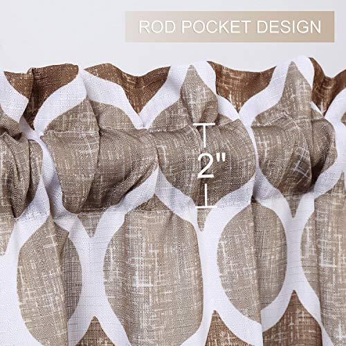 LinTimes Motivo Geometrico mantovana per Bagno Design Marocchino Tende mantovana per finestre Asta da Cucina Tenda mantovana Tende da caff 56x 15 TortoraMarrone Un Pannello