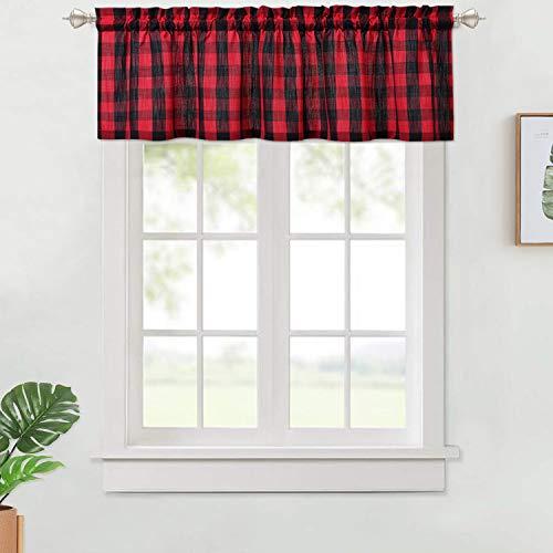 Lintimes  Tende in tessuto con mantovana regolabile per cucina e bagno Tessuto Nerorosso VALANCE 142x38cm