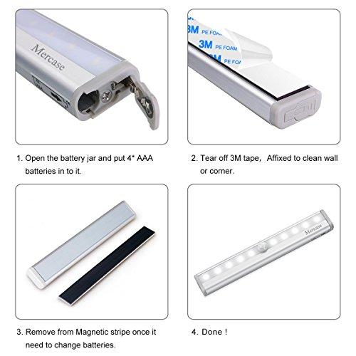 Luce Armadio Led con SensoreLuci Led Camera da Letto Sensore di Movimento con Striscia Magnetica AdesivaLuce Notte led per ScaleCorridoioArmadioCucina etcAutoOnOffConfezione da 2