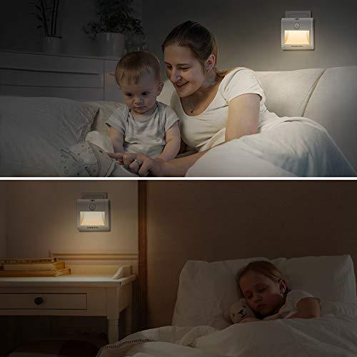 Luce Notturna LED OMERIL 2 Pezzi Luce Notturna con Sensore di Movimento Luce Notte LED con 3 Modalit di Illuminazione e Luminosit Regolabile per Corridoio Scale Soggiorno Cucina Bambini