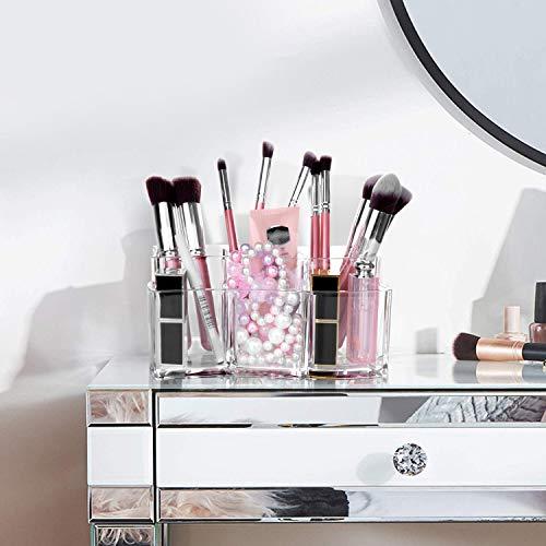 Maojuee Organizer per Cosmetici Organizzatore Trucco in Acrilico Porta Trucchi con 6 Scomparti Cosmetic Organizer Porta Pennelli Trucco Trasparente