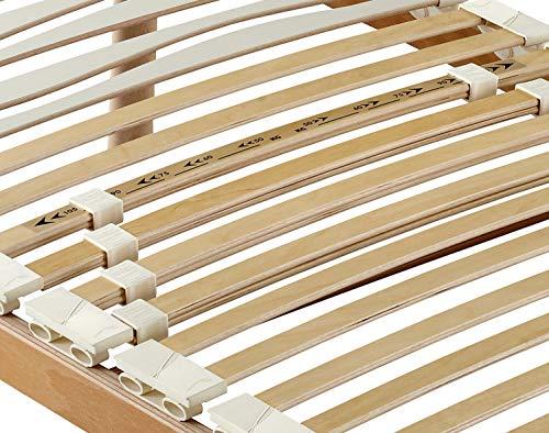 Marcapiuma  Rete a Doghe Fissa Singola 80x200 Alta 35 cm Modello SA in Legno di Faggio Naturale resinato e Multistrato  4 Piedi Legno massello di Faggio  Ortopedica  100 Made in Italy