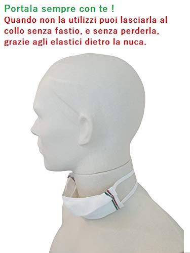 Mascherina filtrante lavabile  in maglia tecnica  MADE IN ITALY Bianco con tricolore