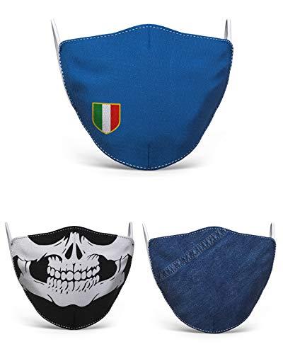 Mascherina in tessuto lavabile stampata, 100% Made in Tuscany, taglia uomo, fantasie varie (Scudetto Italia) - Arredamento e casa